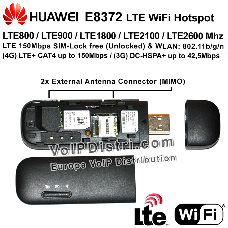 VoIPDistri VoIP Shop - Huawei E8372 WiFi Hotspot 150Mbps, SIM-Lock free (free for all providers ...