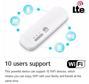Huawei E8372 150Mbps LTE WiFi Car Hotspot USB Dongle (4G/LTE CAT4),  SIM-Lock free (free for all providers / unlocked)