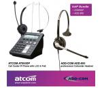 ATCOM AT800DP Call Center IP-Phone + ADD-COM ADD-800 Headset