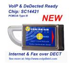 VoIP COM-ON-AIR DECT CONTROLLER PCMCIA Type 3 (SIP, skype), DeDECTed DECT sniffer software compatible